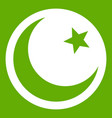 crescent and star icon green vector image vector image