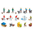 dog ordinary life isometric icons vector image vector image