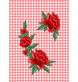 embroidery roses on checkered background vector image vector image