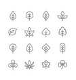 fall leaves line icons set vector image vector image