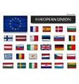 flags european union and members wavy design vector image