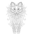 fluffy cat in zentangle style freehand sketch vector image vector image