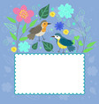 frame in doodle honored with birds and plants vector image
