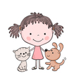 girl kitten puppy 1 vector image vector image