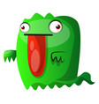 green monster with big red tongue on white vector image vector image
