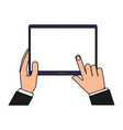 hands holding tablet computer gadget vector image vector image