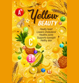 healthy food and vitamins color yellow diet vector image vector image
