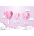 heart shape balloons hanging with i love you word vector image