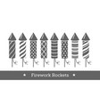 holiday firework set of rockets or firecrackers vector image