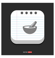 icon of bowl and chopsticks gray icon on notepad vector image vector image