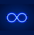 infinity neon symbol on blue background vector image vector image