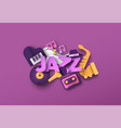 jazz band music quote with papercut musical icon vector image vector image