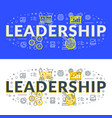 leadership flat line concept for web banner and vector image vector image