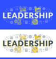 leadership flat line concept for web banner vector image