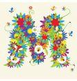 letter M floral design vector image vector image