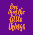 love is in little things lettering phrase for vector image vector image