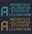 retro pixel font rounded alphabet and numbers vector image vector image