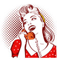 retro portrait of young woman talking on phone vector image vector image