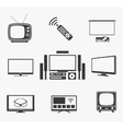 Retro TV flat screen home theater and smart icons vector image vector image