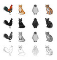 rooster fox tail and other web icon in cartoon vector image vector image