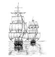 sail boats on sea black and white sketch vector image vector image