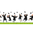 seamless border with happy graduate students in vector image vector image