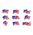 set of us flags vector image vector image