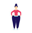 slim woman in oversized pants vector image vector image