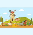 small rural farm or ranch with cartoon characters vector image