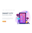 smart city and social media landing page vector image vector image