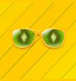 sunglasses with kiwi and yellow background and vector image vector image