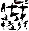 surfer silhouettes collection vector image