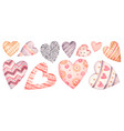 watercolor hearts pink and red set vector image vector image