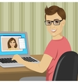 young boy chatting with girlfriend with video call vector image vector image