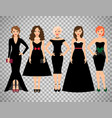 young women in different black dresses vector image vector image