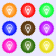 Light bulb icon sign A set of nine different vector image