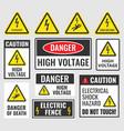danger signs high voltage labels vector image