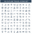 100 travel icons vector image vector image