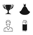 a cup a wedding dress and other web icon in black vector image vector image