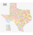administrative and population map texas vector image vector image