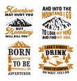 adventure quote and saying set vector image vector image