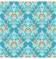 Blue seamless damask pattern vector image