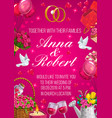 bride and groom names invitation on wedding party vector image vector image