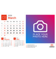 calendar for march 2019 design print template vector image vector image