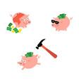cartoon piggy bank set vector image vector image