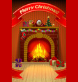 christmas card with red ribbon fireplace vector image vector image