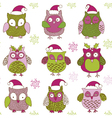 christmas owls vector image vector image