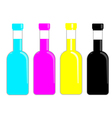 CMYK Bottles ink for print publishing vector image
