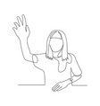 continuous one line woman pull her hand up want vector image vector image