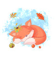 cute cartoon fox is sleeping autumn leaves vector image